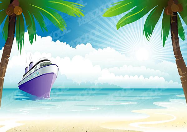 sunny beach cartoon. Keyword vector sunny beach