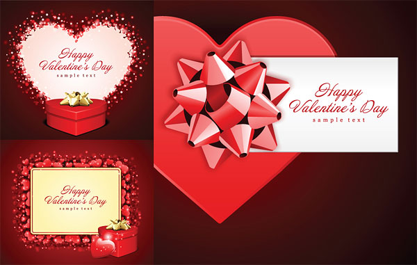 Romantic Valentine's Day gift cards vector material