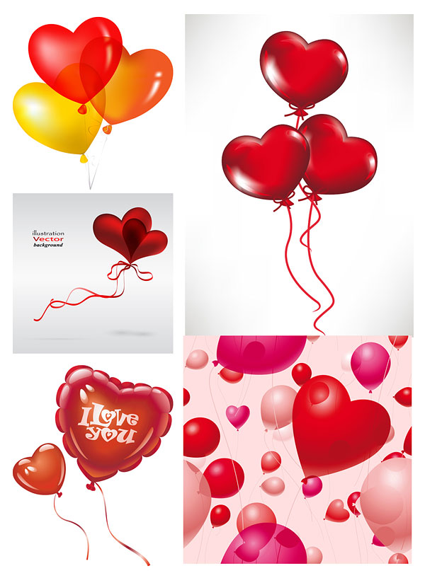 Romantic heart-shaped balloons Vector Download Free Vector,