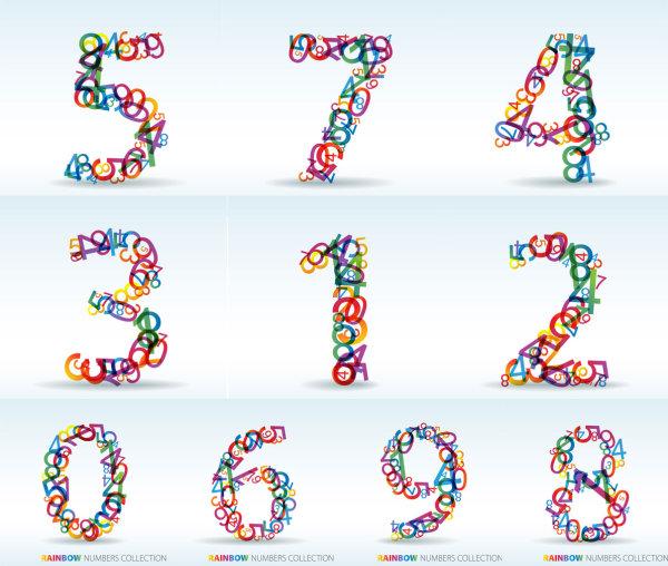 Numbers of digital vector material