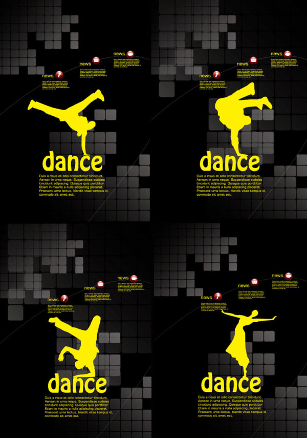 Dancing theme posters template vector material over millions dancing theme posters template vector material toneelgroepblik Choice Image