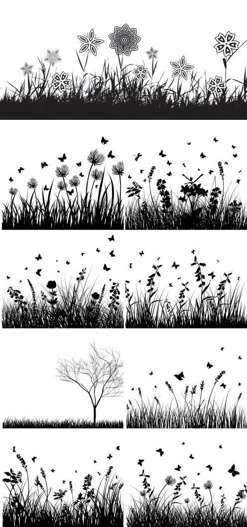 Flora silhouette vector material