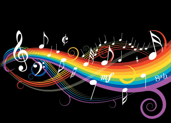 Theme music notes vector material -1