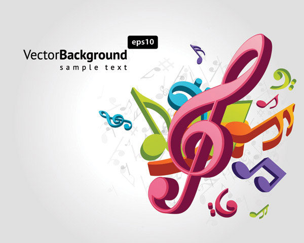 Color Notes Background 01 Vector Free Download: Note Musical Theme Vector Material -2 Download Free Vector