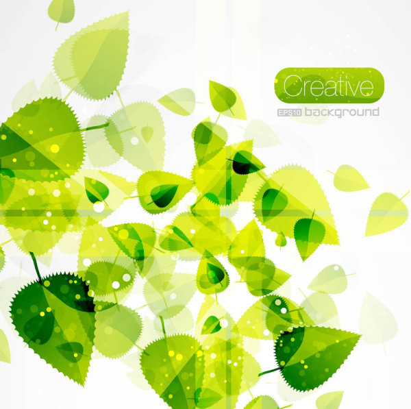 Spring green leaves 03-- vector material