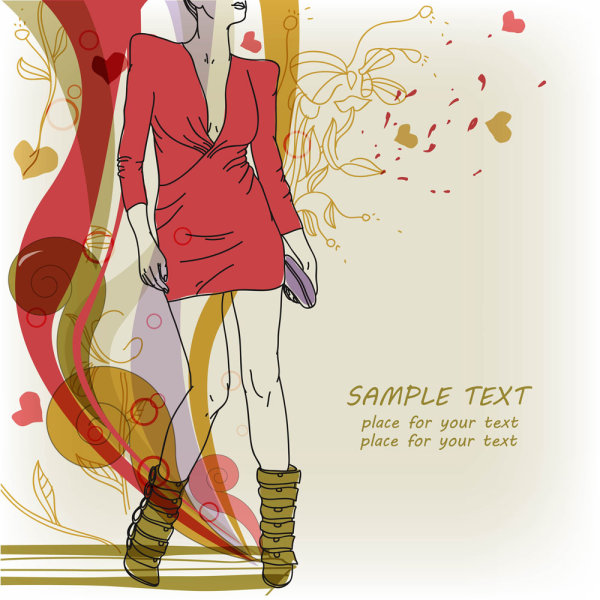 Fashion Hand Painted Beautiful Illustrations 05 Vector