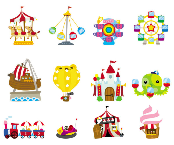 Cute Cartoon Icon Playground 03 Vector Material Download
