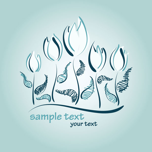 Hand-painted tulips vector material