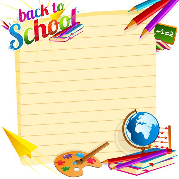 Keywords: cartoon, school supplies, paint board, brushes, paper ...
