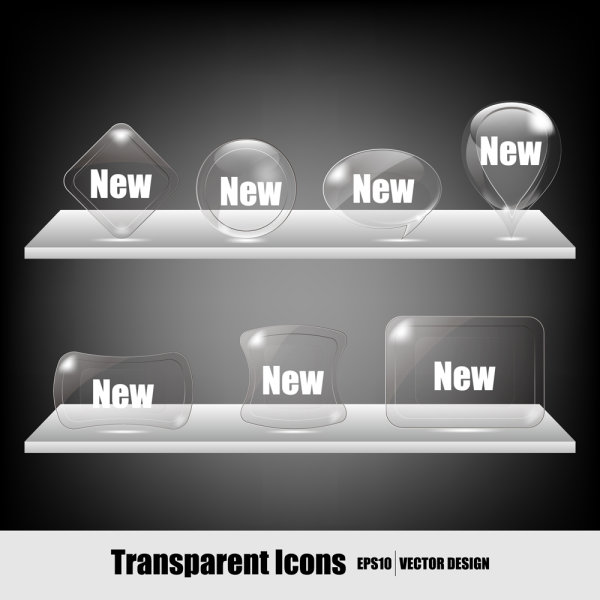 Transparent Crystal icons - vector material