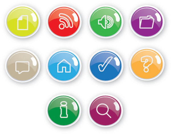 Exquisite Button Icons 06 Vector Material Download Free