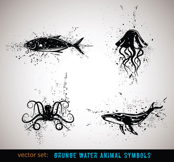 Ink animal vector material -4