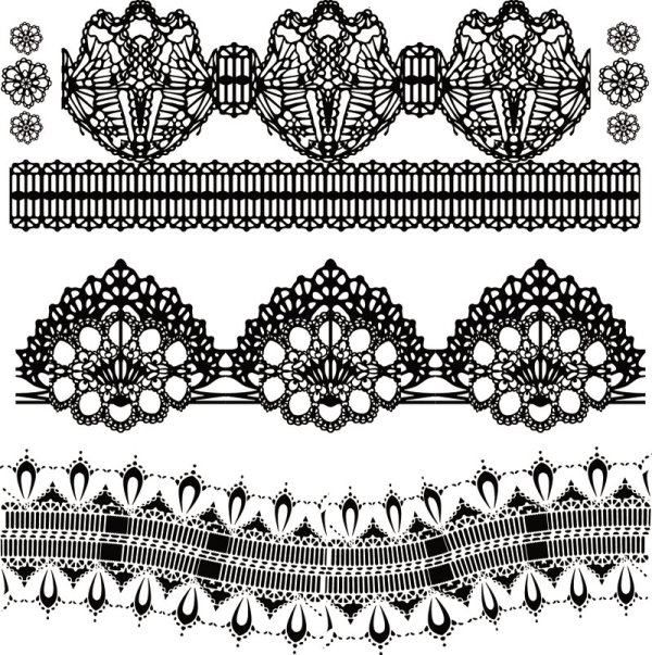 Black And White Floral Pattern 01 Vector Material Download Free