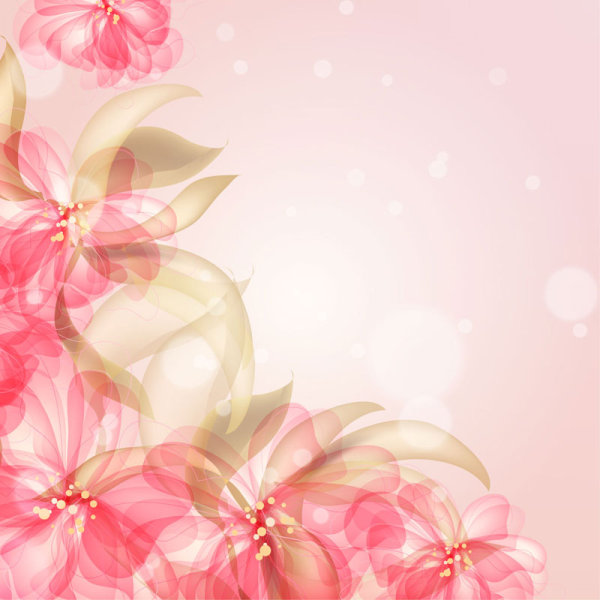 Colorful Flowers Background 03 Vector Material Over