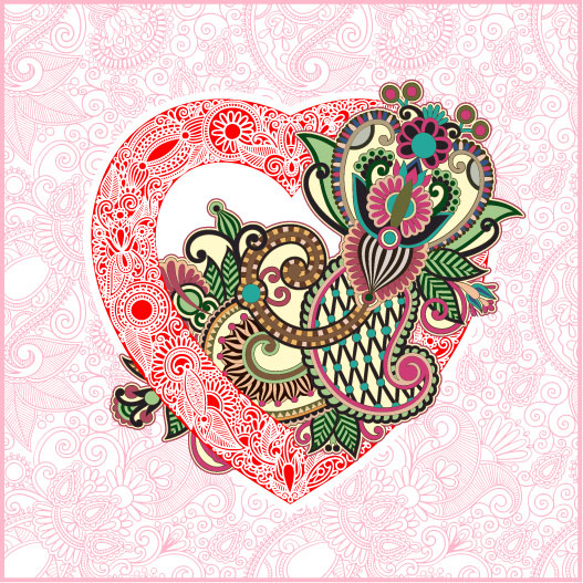 Heart-shaped Valentine's Day card 02 - vector material