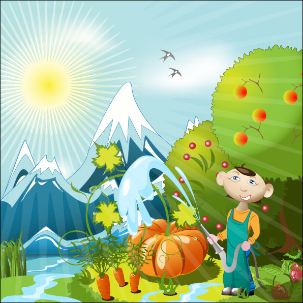 Cartoon orchard 01 - vector material