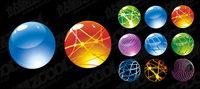 Round boule de cristal icône vecteur mat��riel
