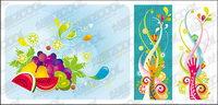 La tendance des couleurs des fruits th��me vecteur mat��riel