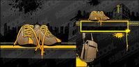zapatos y material de la bolsa