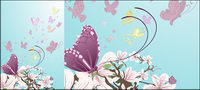 Purple flowers and butterflies vector material