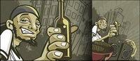 El hombre levant¨® su botella de vectores