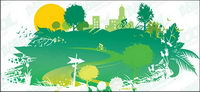 Casas de material verde de vectores