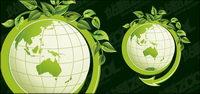 Les feuilles vertes avec le vecteur de la terre, du mat��riel
