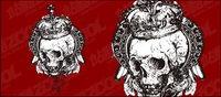 Noir et blanc crâne vecteur mat��riel