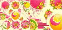 Hermosa rosa flores con la tendencia de los vectores de material ronda