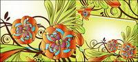 Exquisita decoraci¨®n de flores caja de material de vectores
