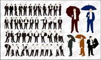 La acci¨®n de los distintos hombres de negocios de material de vectores