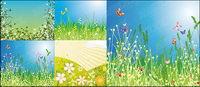 Blumen und Schmetterlinge Vektor Material