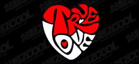 truelove text vector heart-shaped material