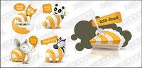 вектор rss подписка,подача,Зебра,слоны,панды,Лис,Торт,вилка,векторные иконки...