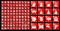 Simple red Christmas icon vector material