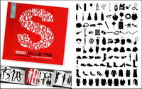 1000 Album verschiedenen Vektor-Silhouette Material-8