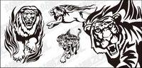 Tiger lion flamme totem vecteur mat��riel
