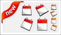Calendario, y los nuevos vectores de materiales decorativos icono