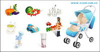 Kinder-und Obst-und Gem��se-Symbol Vektor-Material