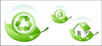 Environmental protection the theme of green leaf icon vector material