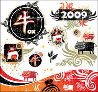 2009 Year of the Ox trend element vector material