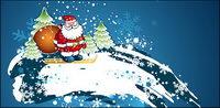 Santa Claus Ski Vector Material