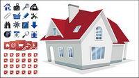Haus mit 2 Sets von Utility-Symbol Vektor-Material