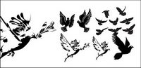 en blanco y negro palomas o silueta vector material