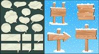 Dialog-Blase Papier und Holz Maserung Vektor Material Zeichen