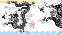 Noir et blanc dragon chinois vecteur mat��riel