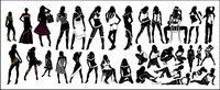 Variedad de vectores de moda femenina silueta material