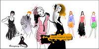 Vector de la moda de la ropa de las mujeres modelos de materiales