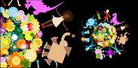 Les enfants de fleurs vecteur mat��riel animal