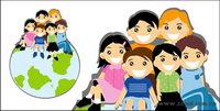 Sitzung auf der Erde die Kinder Vector Material